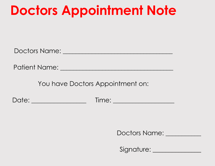 sample of doctors appointment note