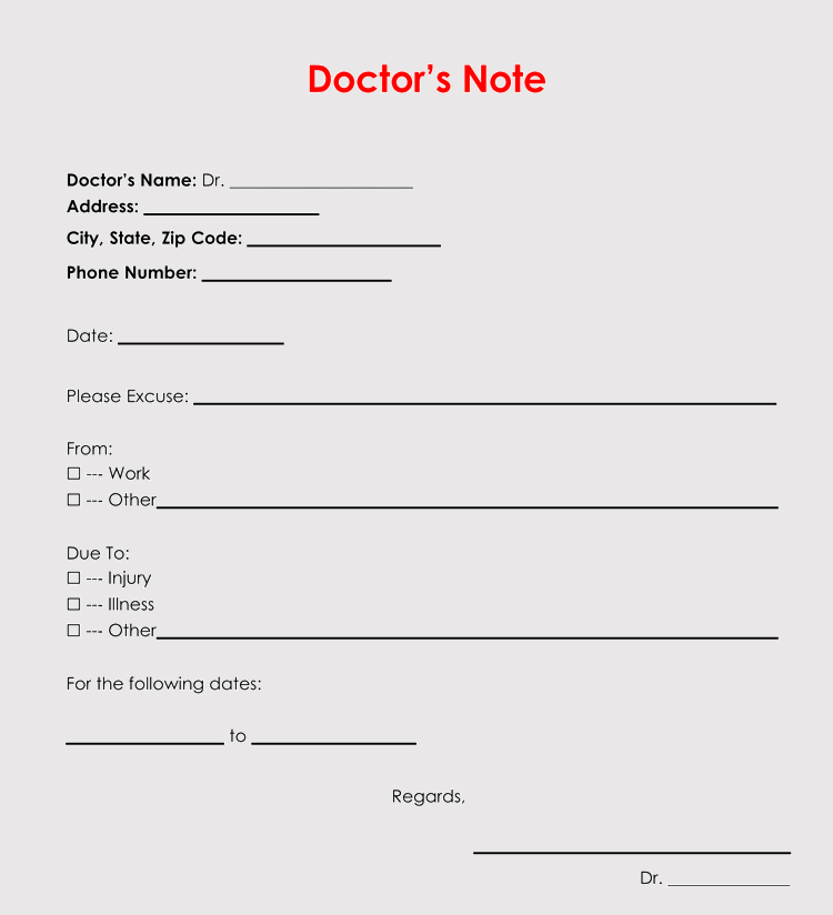 36 Free Fill-in-Blank Doctors Note Templates (For Work & School)