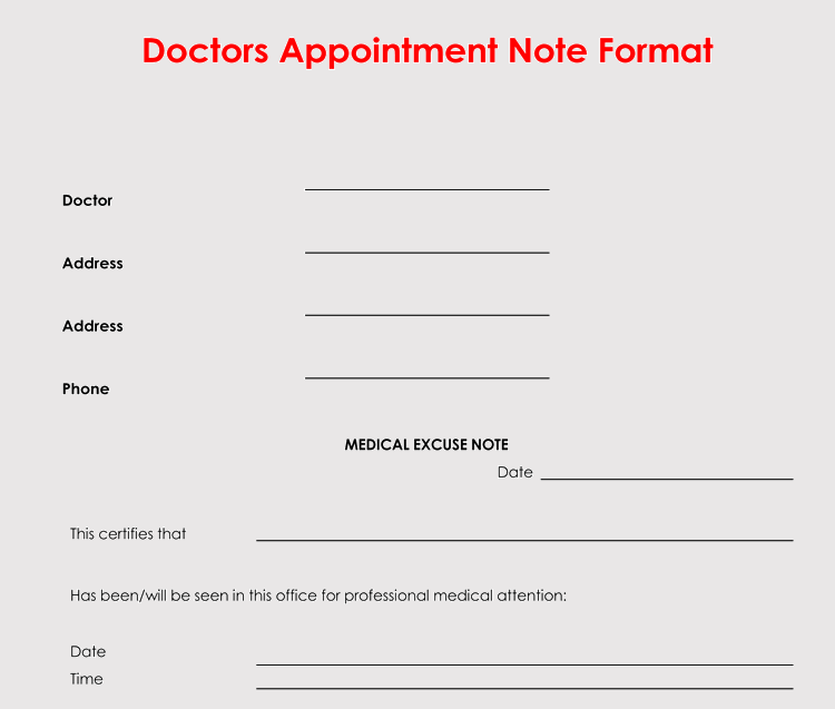 Fake Doctors Appointment Note Generator