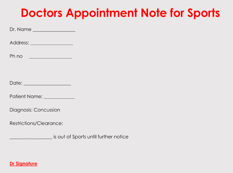 Free Printable Doctors Appointment Note For Work