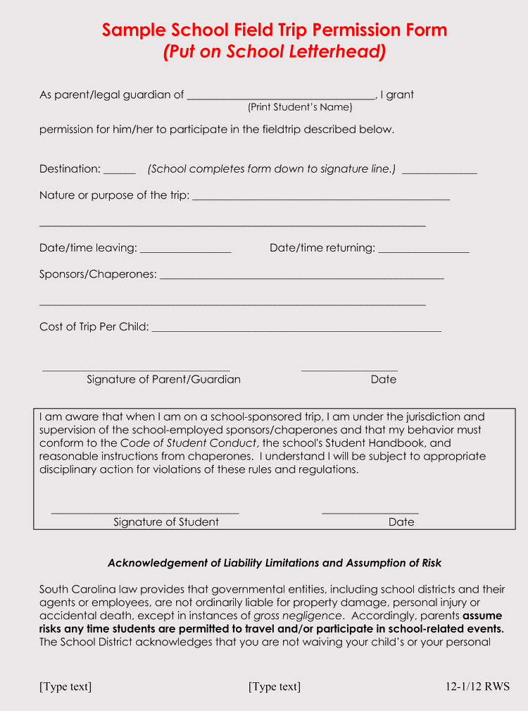 free field trip permission slip