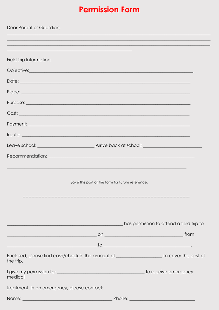 Blank Field Trip Permission Slip Templates Amp Forms Word Pdf