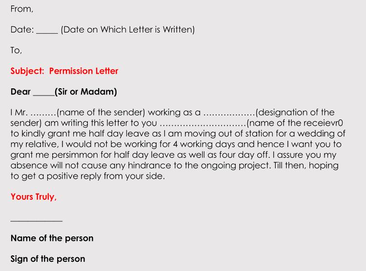 Permission Letter Format