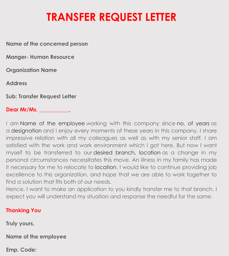 letter of request to transfer to another location correct format to write a transfer request letter with 29308 | Transfer Request Letter 2