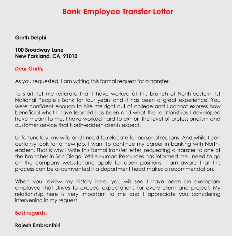 Correct Format to Write a Transfer Request Letter (With Samples)