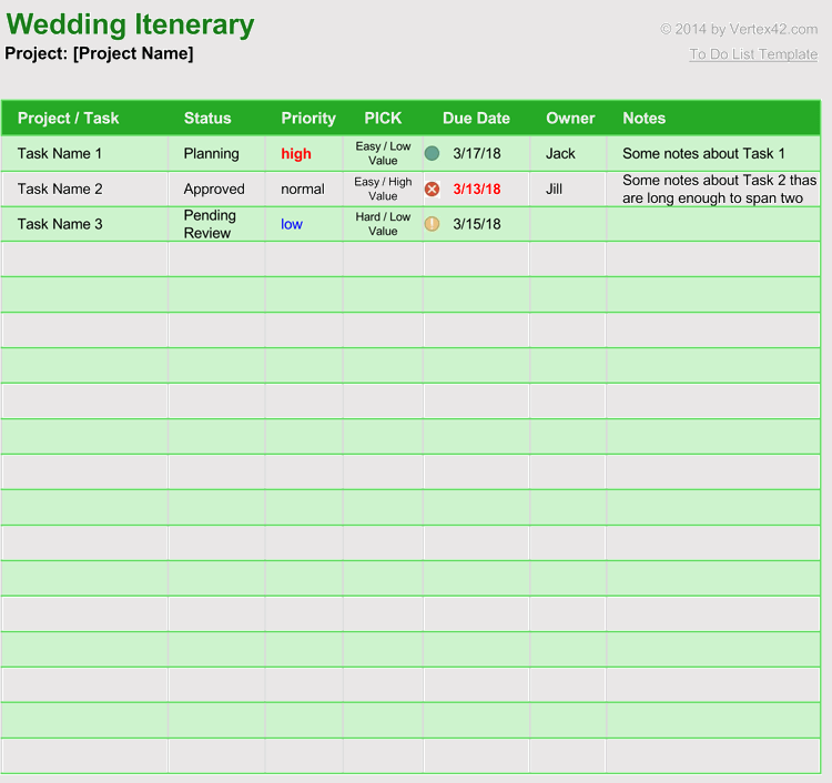 free wedding itinerary planner amp guest list templates