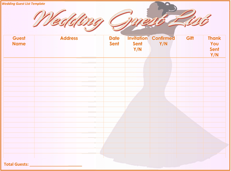 Free Wedding Itinerary Planner & Guest List Templates ...