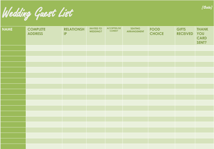free wedding itinerary planner  u0026 guest list templates