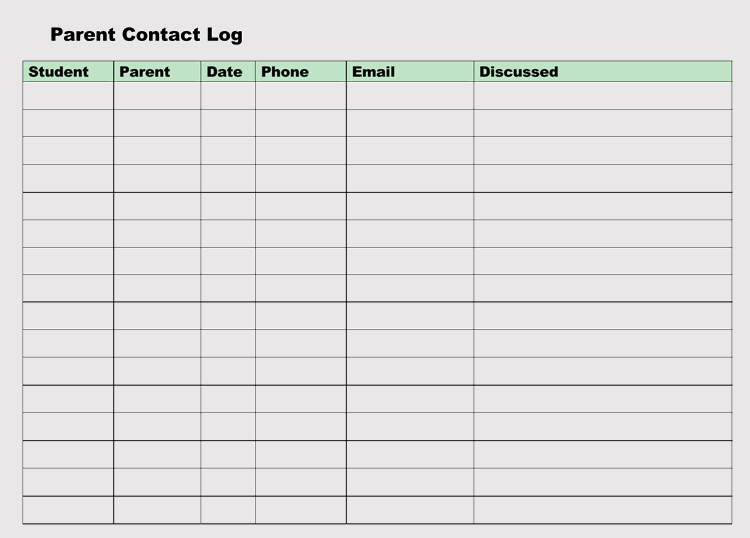 Parent Contact Log Sheet Template
