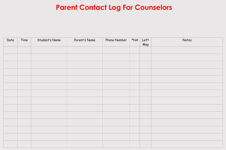 Parent Teacher Communication Log Template