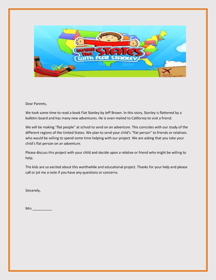 Flat Stanley Return Letter Template