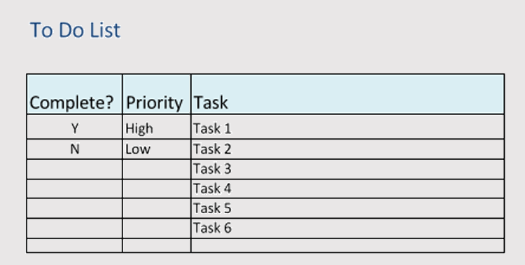 Daily Task List Template For Work