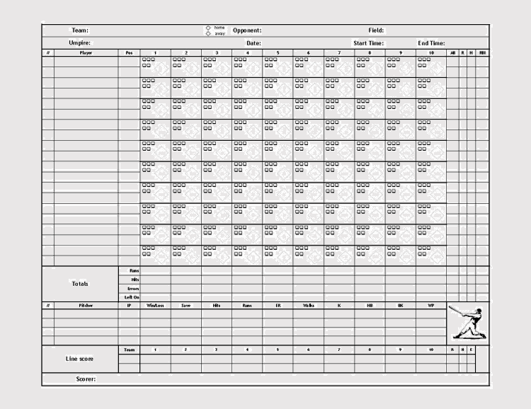 photograph relating to Printable Baseball Scoresheet named Printable Baseball Scorecards / Scoresheets (PDF)