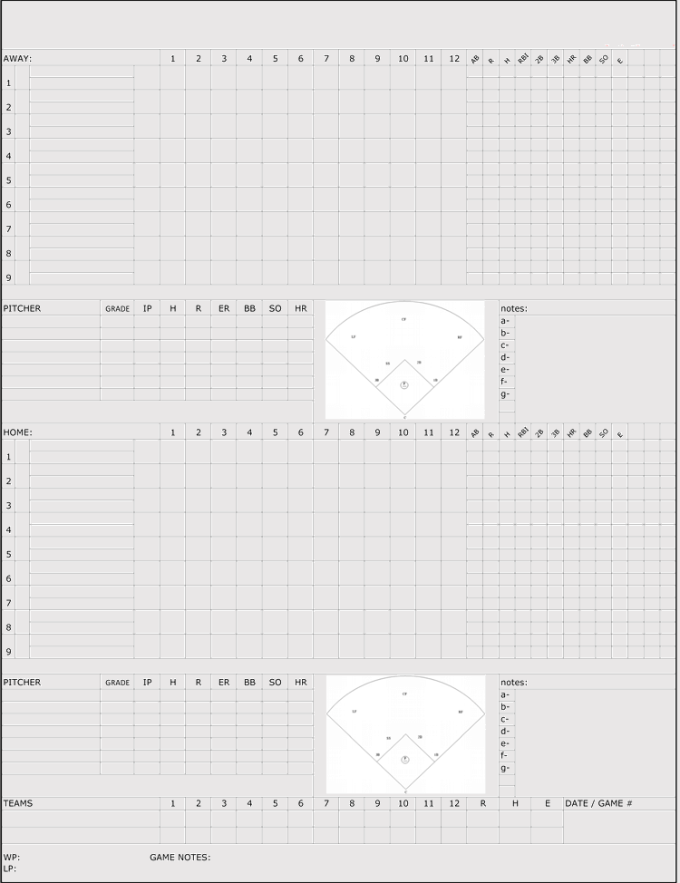 Little League Baseball Score Sheet