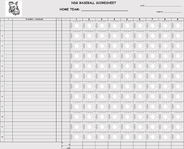 photo about Printable Baseball Scoresheet titled Printable Baseball Scorecards / Scoresheets (PDF)