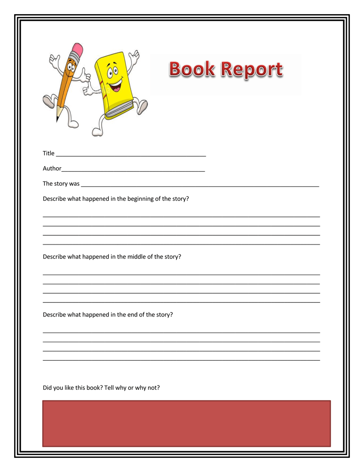 Book Report Template 1st Grade