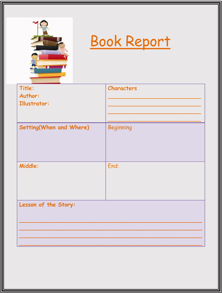 Book Report Template 4th Grade Sample 03