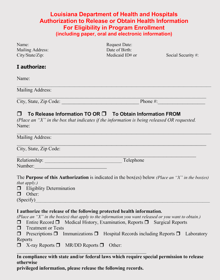 photograph regarding Free Printable Medical Records Release Form called 20 Templates toward Crank out a Health-related Content material Launch Type