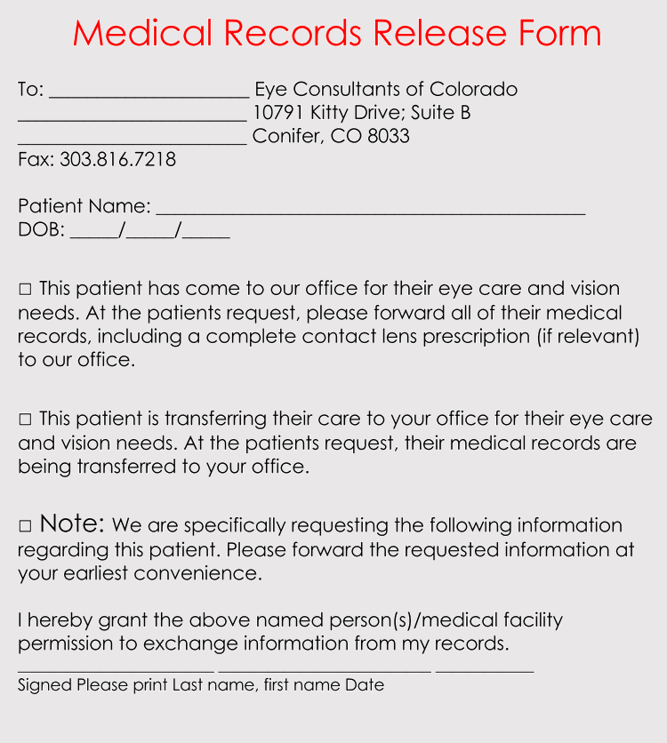 Standard Medical Records Release Form