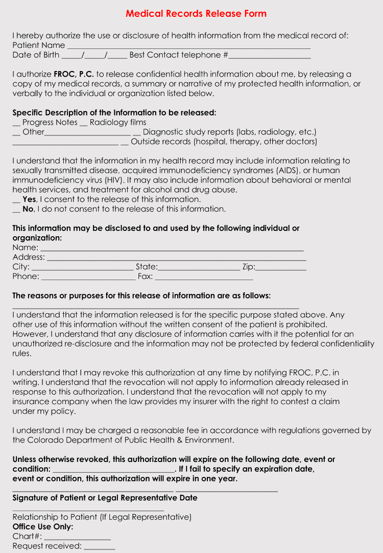 Medical Release Form For Adults