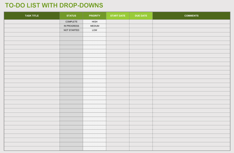 Drop-Downs To Do List
