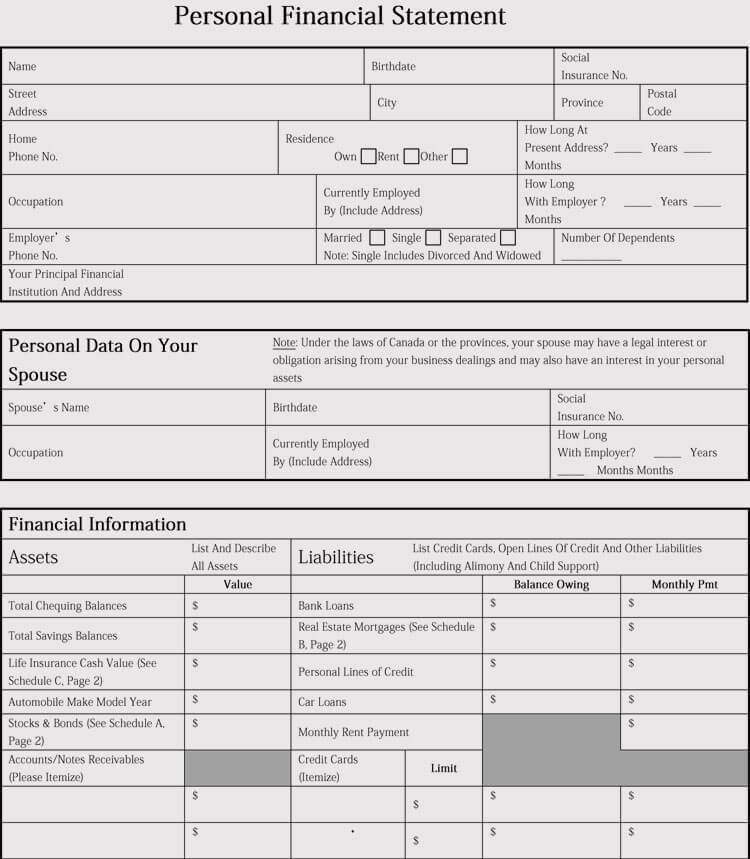 Financial Statement Template doc