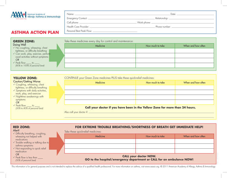 Asthma action plan format