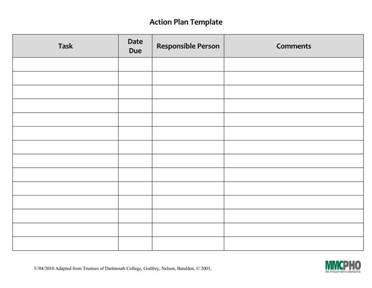 Blank Action Plan Format