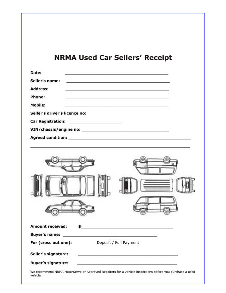 Car Sales Receipt Template 01