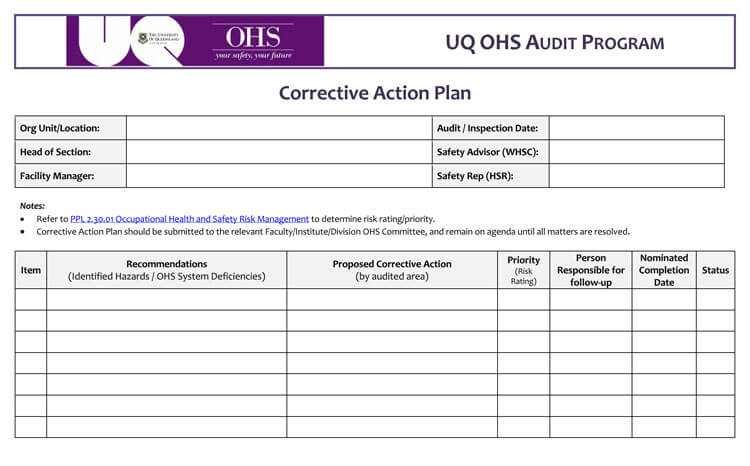 Corrective action plan sample
