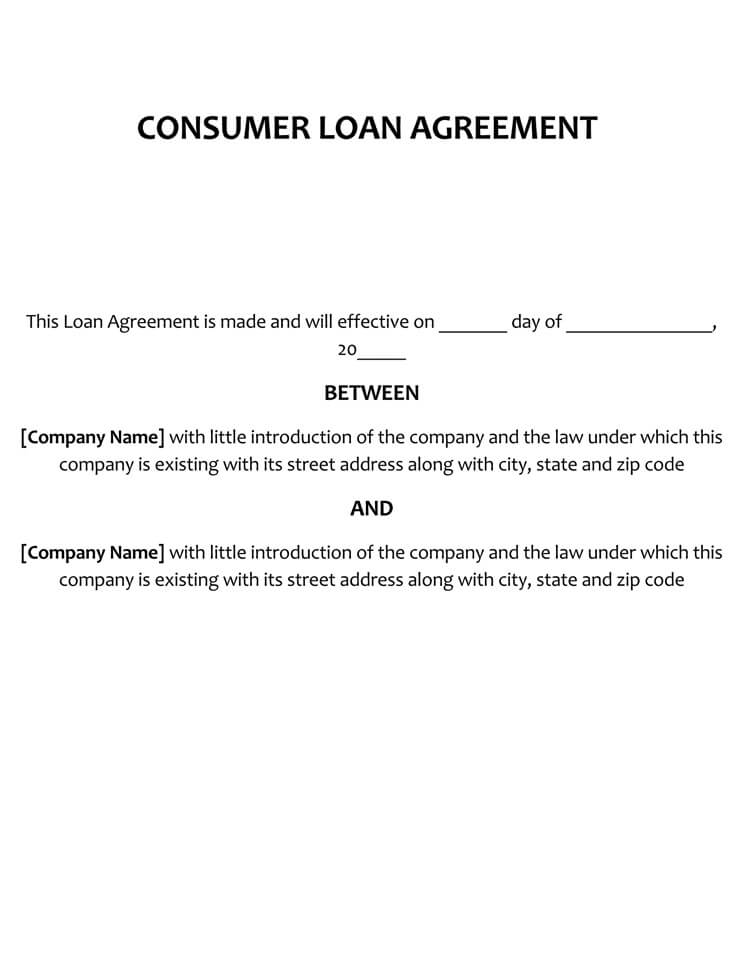 Customer Loan Agreement Template