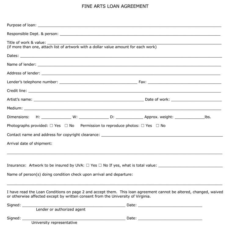 Fine Arts Loan Agreement Template