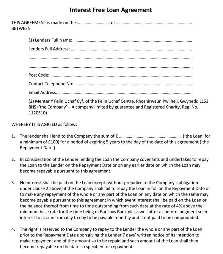 Interest Free Loan Agreement Template
