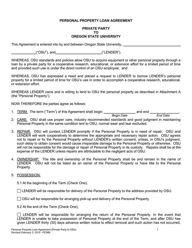 Loan Agreement Form (Personal Property)