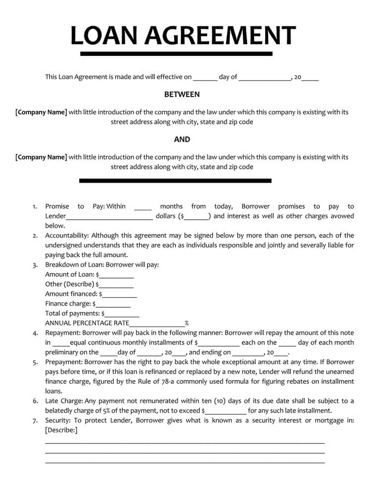 Loan Agreement Template (Between 2 Companies)
