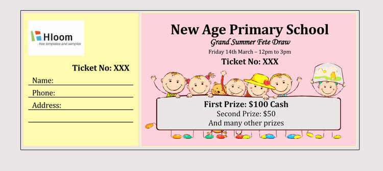 Primary School Raffle Ticket Template
