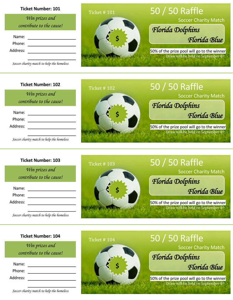 Free Editable Raffle Ticket Templates