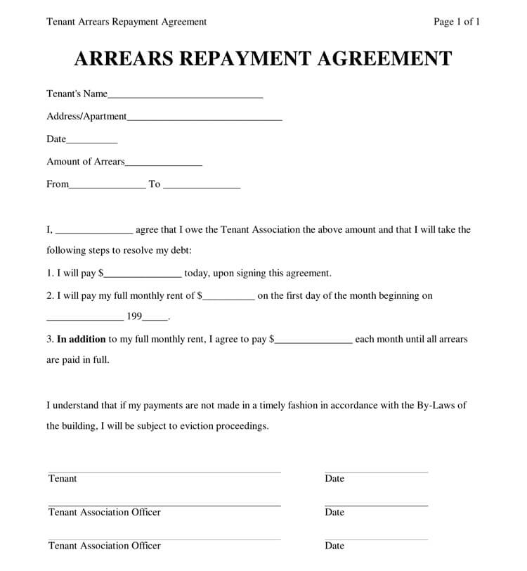 Repayment Agreement Sample