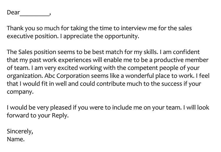 Sample Interview Appointment Thank You Letter