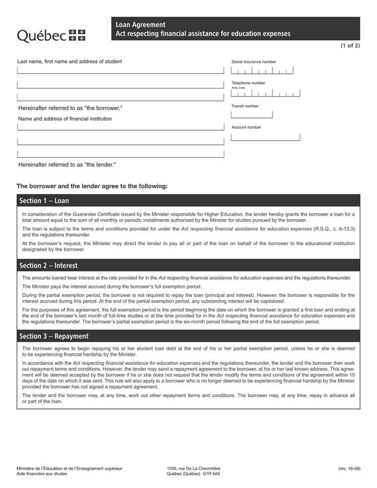 Sample Loan Agreement (for Education Expenses)