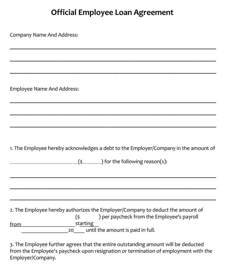 Sample Loan Agreement (for Office Employee)