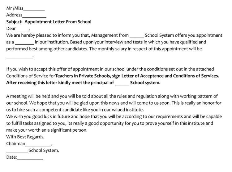 Sample Teacher Job Appointment Letter