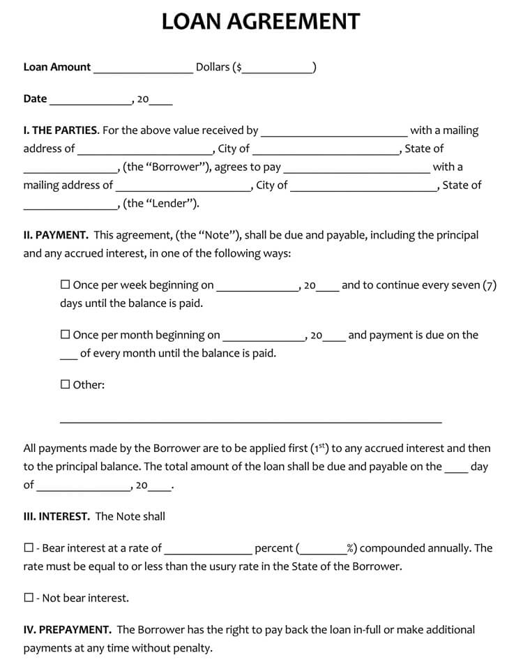 Short Form Loan Agreement Template