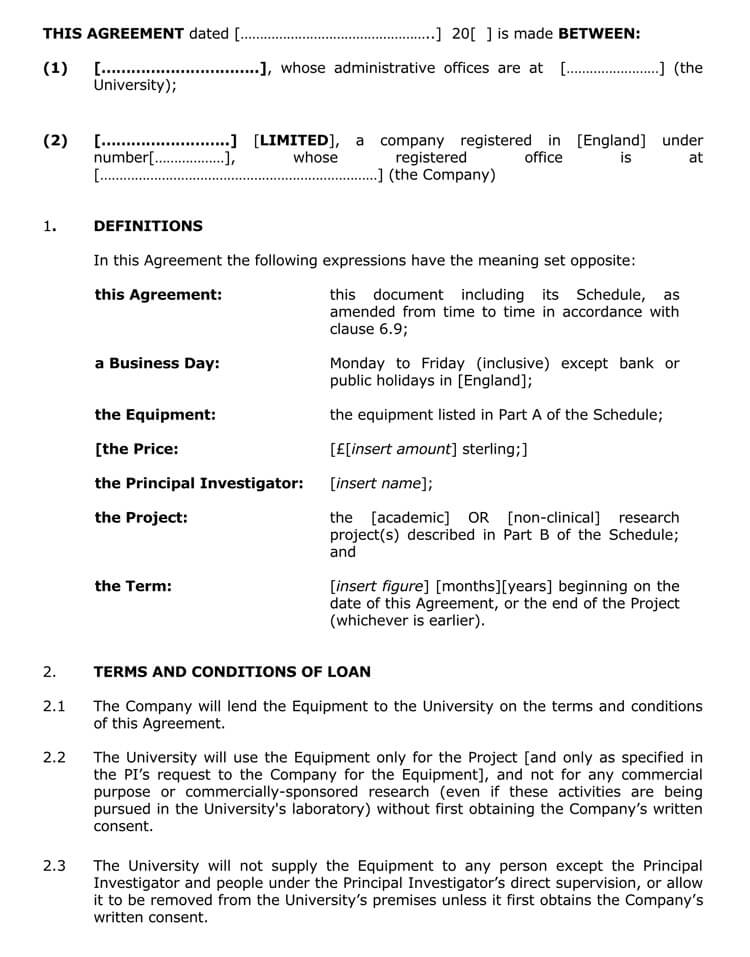 Short Loan Agreement Template