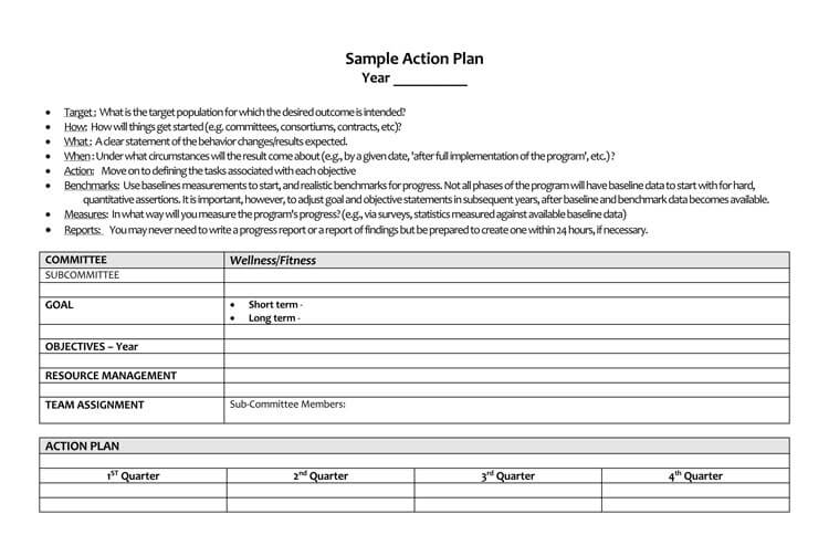 fitness action plan format