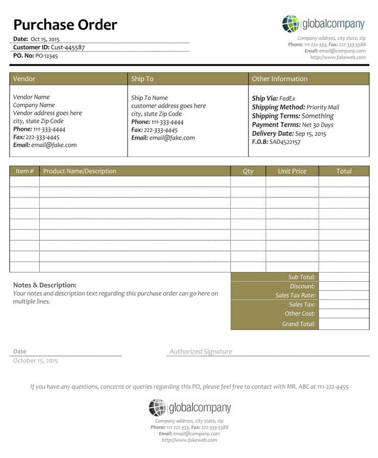 40+ Free Purchase Order Templates | Forms | Samples (Excel ... Purchase Order Format In Excel Sheet Free Download on
