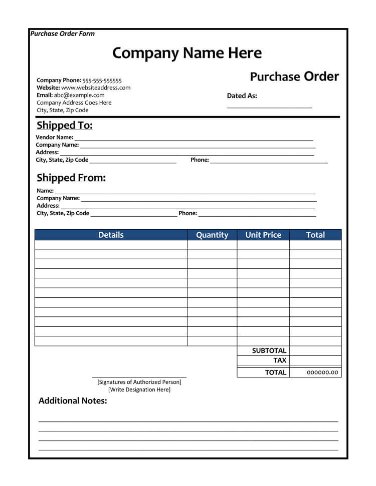 40  free purchase order templates