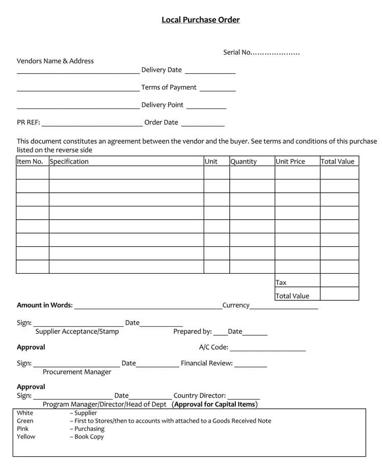 purchase order word doc
