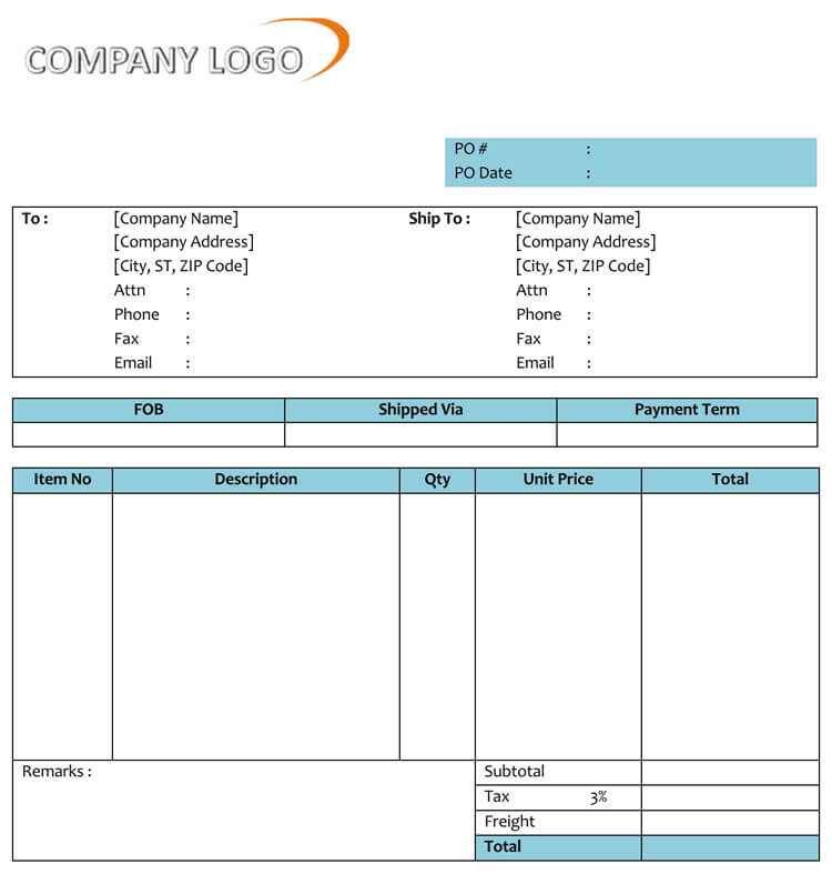 40 Free Purchase Order Templates Forms Samples Excel Word