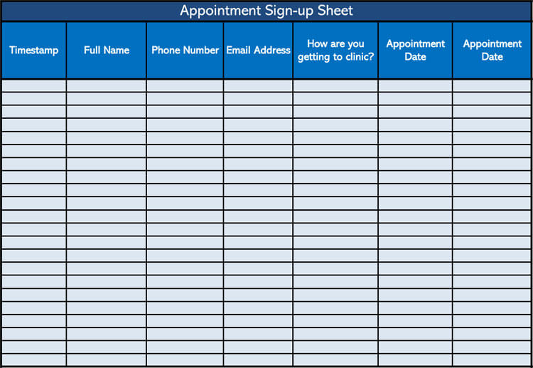 Appointment Sign-up Sheet Template